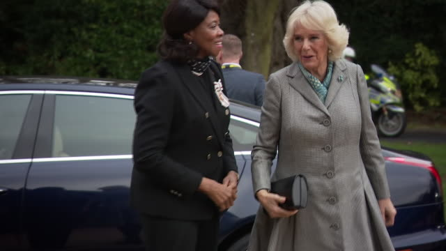 exterior shots of camilla duchess of cornwall arriving at elmhurst ballet school and being greeted by director of the birmingham royal ballet and... - dance studio stock videos & royalty-free footage
