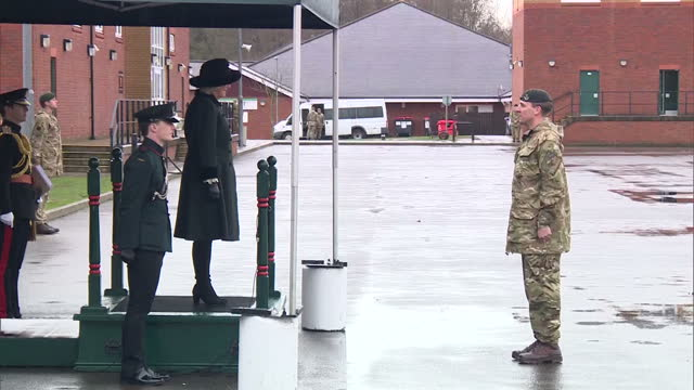 exterior shots of camilla duchess of cornwall arriving at normandy barracks and receiving the royal salute from soldiers on parade on february 27,... - aldershot stock videos & royalty-free footage