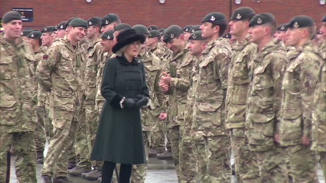 exterior shots of camilla duchess of cornwall inspecting soldiers from the 4th battalion the rifles, recently returned from deployment in iraq on... - aldershot stock videos & royalty-free footage