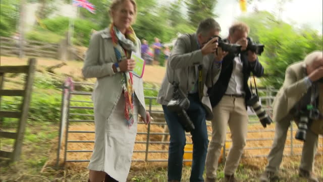 exterior shots of camilla duchess of cornwall meeting people and inspecting a pair or rams at a farm in exmoor to mark the 70th anniversary of the... - exmoor national park stock videos & royalty-free footage