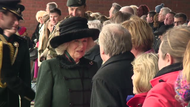 exterior shots of camilla duchess of cornwall meeting relatives of soldiers from the 4th battalion the rifles during a visit to normandy barracks on... - aldershot stock videos & royalty-free footage