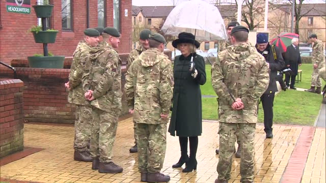 exterior shots of camilla duchess of cornwall meeting soldiers from the 4th battalion the rifles during a visit to normandy barracks on february 27,... - aldershot stock videos & royalty-free footage