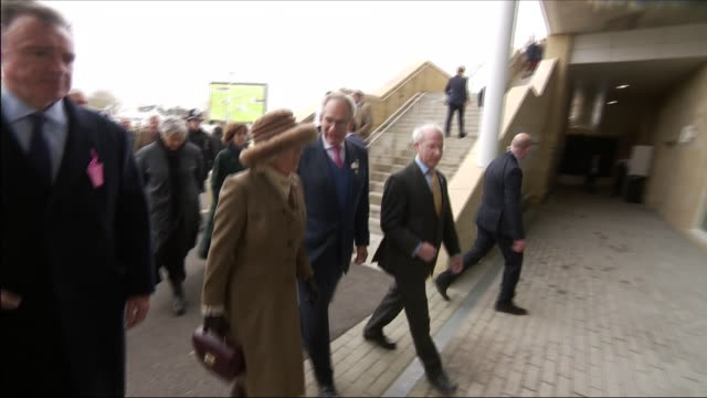 vídeos de stock, filmes e b-roll de exterior shots of camilla the duchess of cornwall walking with officials through crowded area and entering the venue as she arrives for the... - cheltenham