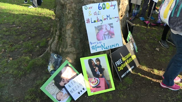 exterior shots of campaigners gathered on west end green before a march to call for the release of nazaninzaghariratcliffe from prison in iran... - nazanin zaghari ratcliffe video stock e b–roll