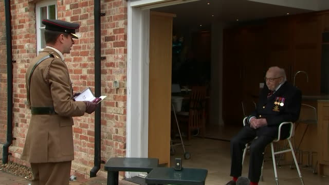 exterior shots of captain tom moore receiving the yorkshire regiment medal along with his new rank of colonel to mark his 100th birthday on 30 april... - captain tom moore stock videos & royalty-free footage