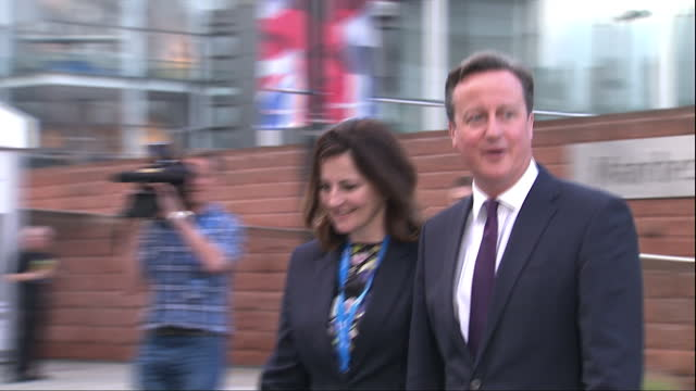 Exterior shots of Caroline Ansell MP walking with Prime Minister David Cameron during the Conservative party conference>> on October 06 2015 in...