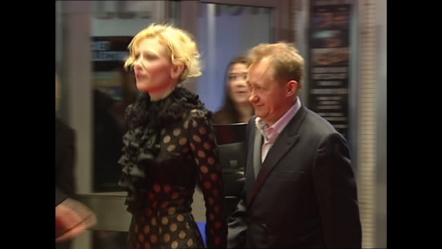 exterior shots of cate blanchett and andrew upton on the red carpet premiere for the aviator on 19th december 2004 in london england - captain stock videos & royalty-free footage
