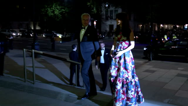 exterior shots of catherine duchess of cambridge arriving for the 100 women in hedge funds black tie dinner at victoria and albert museum wearing a... - gala stock videos and b-roll footage