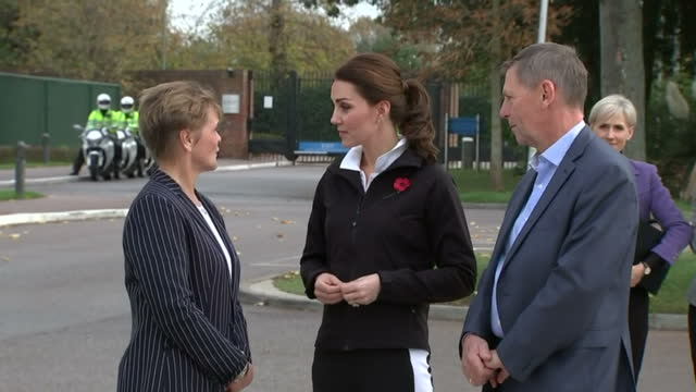exterior shots of catherine duchess of cambridge arriving to visit the lawn tennis association's national tennis centre and being greeted by lta... - herzogin stock-videos und b-roll-filmmaterial