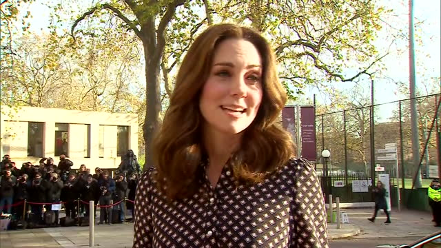 exterior shots of catherine duchess of cambridge arriving to visit the foundling museum and responding briefly to a reporter's question on her... - duchess of cambridge stock videos & royalty-free footage