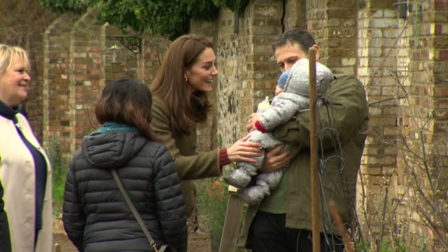 Exterior shots of Catherine Duchess of Cambridge meeting volunteers and inspecting the King Henry's Walk Garden in Islington on 15 January 2019 in...