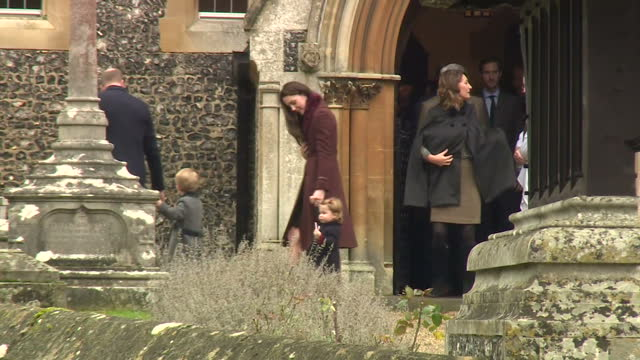 Exterior shots of Catherine Duchess of Cambridge Prince William Duke of Cambridge Prince George Princess Charlotte depart St Mark's Church after...