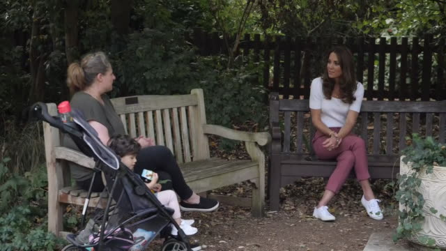 exterior shots of catherine, duchess of cambridge speaking with parents about the importance of parent-powered initiatives on the 22nd september 2020... - battersea park stock videos & royalty-free footage