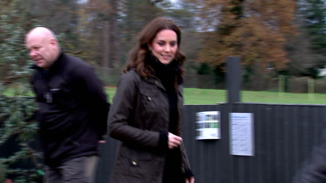 exterior shots of catherine, duchess of cambridge visiting robin hood primary school to celebrate the school's work with the royal horticultural... - royal horticultural society stock-videos und b-roll-filmmaterial