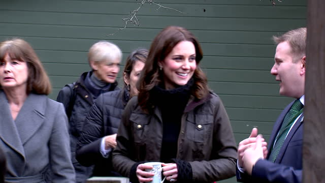 Exterior shots of Catherine Duchess of Cambridge visiting Robin Hood Primary School and speaking with members of staff about the school's work with...