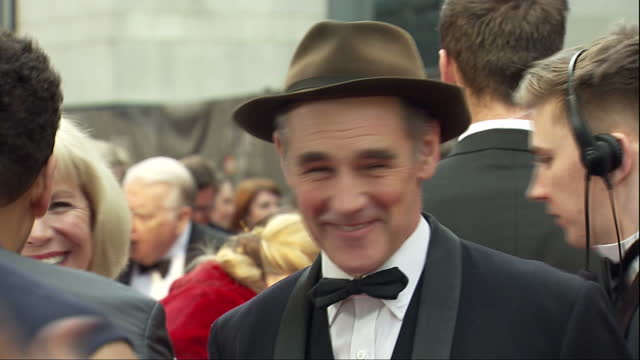 exterior shots of celebrities arriving at the royal opera house for the olivier awards including mark rylance and claire van kampen>> on april 03... - mark rylance stock-videos und b-roll-filmmaterial