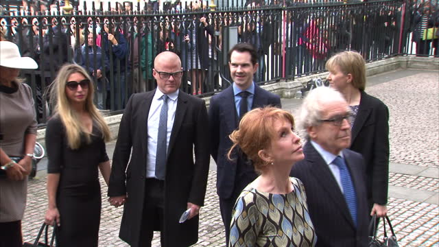 exterior shots of celebrities arriving for a memorial service for sir terry wogan at westminster abbey including greg dyke, jo wiley, heston... - terry wogan stock videos & royalty-free footage