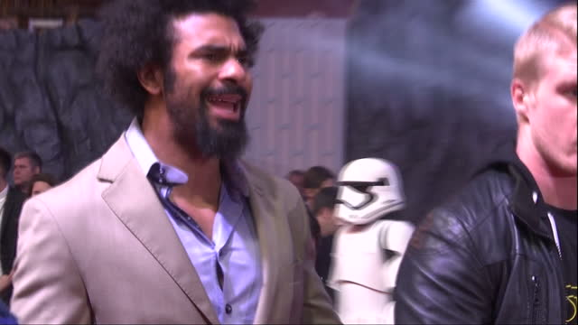 exterior shots of celebrities including boxer david haye myleene klass and quick shot of benedict cumberbatch at the premiere of star wars the force... - david haye stock videos and b-roll footage