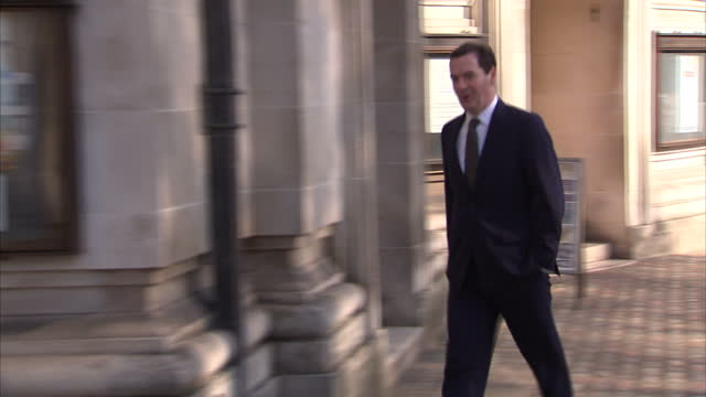 exterior shots of chancellor george osborne arriving at a polling station to vote in the elections for mayor of london and the london assembly>> on... - george osborne stock videos & royalty-free footage