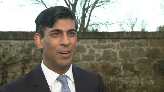 exterior shots of chancellor rishi sunak mp interview where he discusses his travel plans over christmas and how he had already travelled from london... - discussion stock videos & royalty-free footage