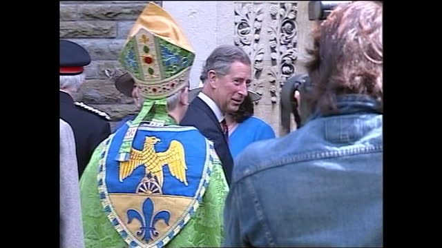 exterior shots of charles, prince of wales arriving at st mary's church, swansea to waiting cadets followed by prince william and prince harry as... - cadet stock videos & royalty-free footage
