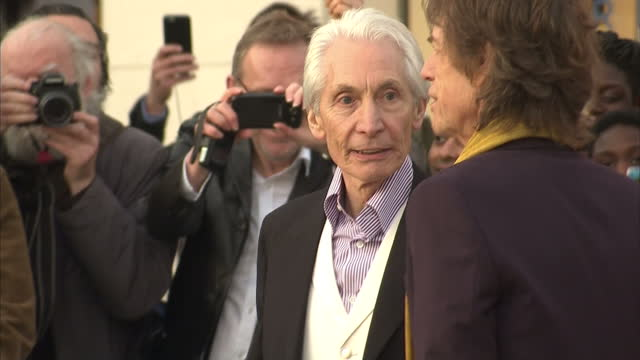 Exterior shots of Charlie Watts Mick Jagger Ronnie Wood and Keith Richards of the Rolling Stones posing together outside the Saatchi Gallery>> on...
