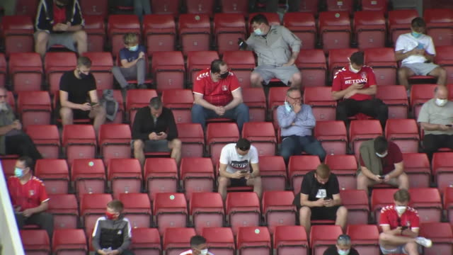 exterior shots of charlton athletic fans seated in a socially distanced manner at the valley ahead of charlton's game against doncaster in efl league... - stadium stock videos & royalty-free footage