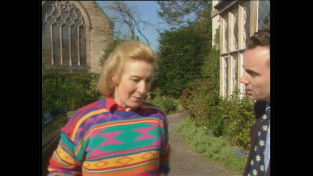 Exterior shots of Christine Hamilton asking reporter to leave from the Hamilton's home on a bank holiday Monday followed by an unknown man pushing...