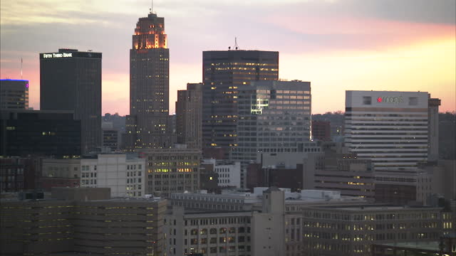 Exterior shots of Cincinnati's city skyline at sunset on October 24 2012 in Cincinnati Ohio