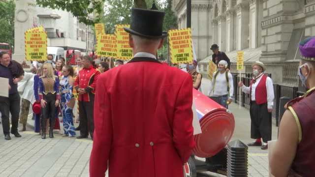 GBR: Circus performers excluded from government furlough scheme deliver a petition to Downing Street