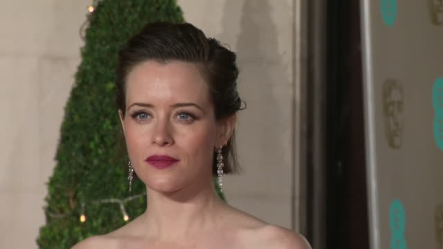 Exterior shots of Claire Foy on the BAFTA after party red carpet wearing green strapless Oscar De La Renta dress on 10th February 2019 in London...