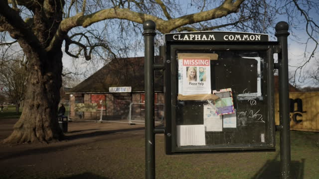 exterior shots of clapham common band stand, missing poster signs for 33 year old sarah everard and people walking through park on 11th march 2021 in... - poster stock videos & royalty-free footage