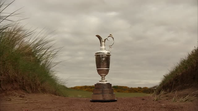 exterior shots of claret jug on royal birkdale course landscape on 24 april 2017 southport, merseyside, england - jug stock videos & royalty-free footage