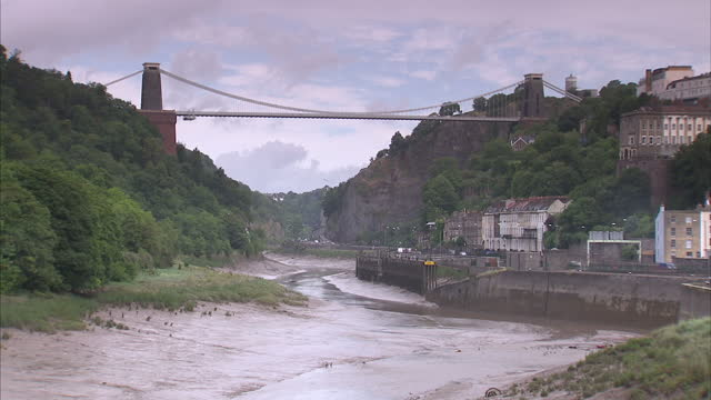 exterior shots of clifton suspension bridge spanning the avon gorge in bristol the bridge opened in 1864 is a grade 1 listed structure clifton... - clifton suspension bridge stock videos and b-roll footage