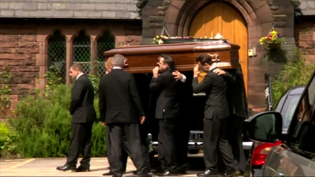 exterior shots of coffin of cilla black being carried into church on august 20 2015 in liverpool england - audio electronics stock videos & royalty-free footage
