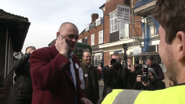 exterior shots of comedian al murray walking on the campaign trail in thanet meeting residents and signing autographs on march 13, 2015 in sandwich,... - al murray stock videos & royalty-free footage