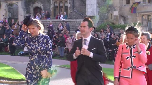 exterior shots of comedian jimmy carr arriving at st george's chapel for the wedding of jack brooksbank and princess eugenie with wife karoline... - comedian stock videos & royalty-free footage