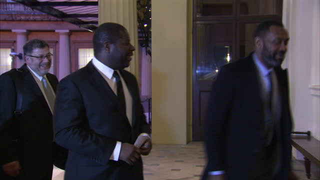exterior shots of comedian lenny henry and director steve mcqueen arriving at buckingham palace for a reception celebrating the dramatic arts in the... - lenny henry stock videos & royalty-free footage