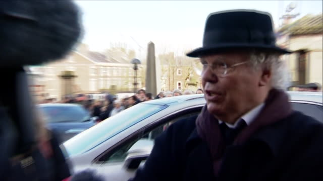 Exterior shots of comedian Roy Chubby Brown arriving to attend the funeral of Sir Ken Dodd and speaking to members of the media>> on March 28 2018 in...