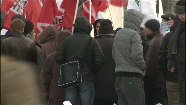 exterior shots of communist party activists demonstrating with flags in moscow after vladimir putin's election victory communist party rally in... - vladimir russia stock videos and b-roll footage
