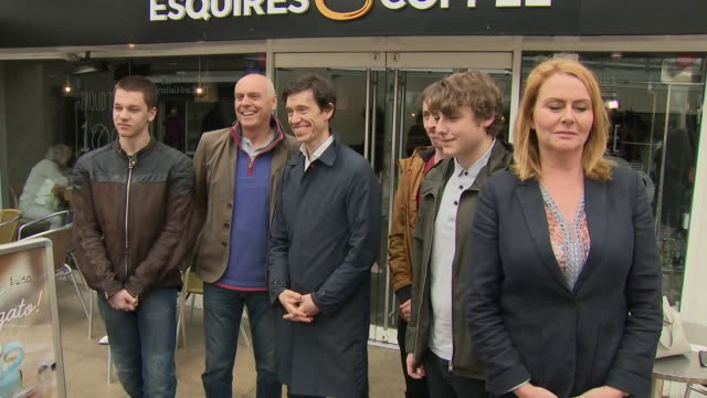 vídeos y material grabado en eventos de stock de exterior shots of conservative leadership hopeful rory stewart mp posing for photos and selfies with young people in a shopping precinct on 29 may... - mp