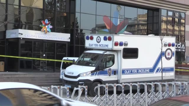 exterior shots of contemporary arts gallery where russian ambassador to turkey andrey karlov was shot dead the day before by 22yearold riot police... - assassination of andrei karlov stock videos & royalty-free footage