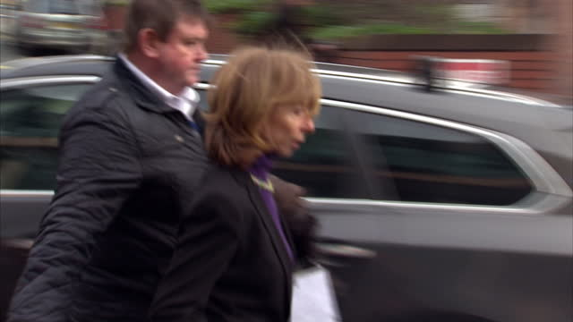 exterior shots of coronation street actress helen worth leaving preston crown court after giving evidence re bill roache trial on in preston... - コロネーションストリート点の映像素材/bロール