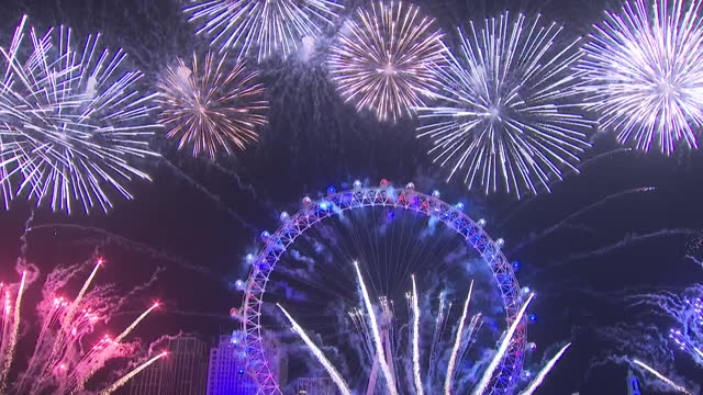 exterior shots of countdown to the year 2020 at the london eye new years eve celebrations and beginning of fireworks display on 1 january 2020 in... - countdown stock videos & royalty-free footage