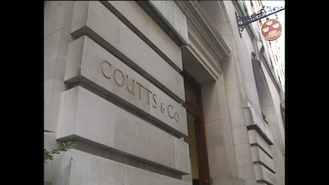 Exterior shots of Coutts bank at 54 Lombard Street and people walking past the entrance on January 26 1989 in London England