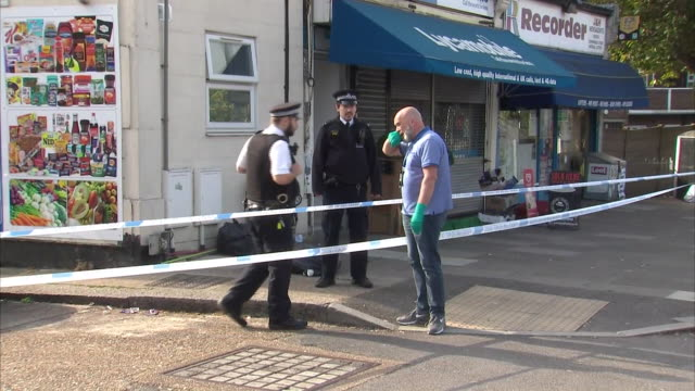 exterior shots of crime scene where ilford children stabbing took place at a property on aldborough road north in iford on 27 april 2020 in london,... - ilford stock videos & royalty-free footage