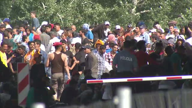 exterior shots of croatian police officers pushing crowds of refugees back and refugees breaking through the police line a young child stood alone as... - land stock-videos und b-roll-filmmaterial