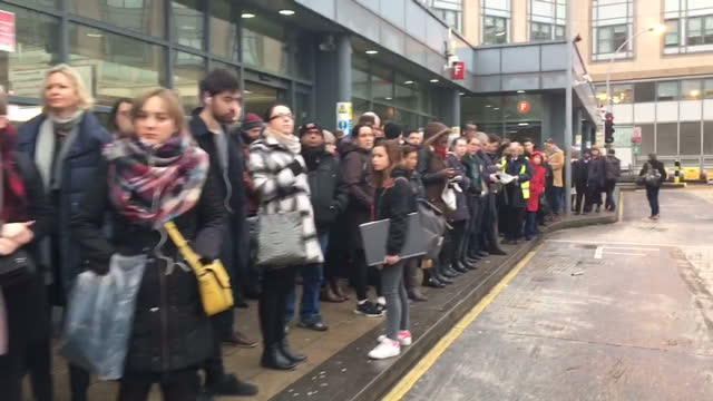 exterior shots of crowd of commuters queuing for a bus at hammersmith bus station during london underground strike on january 09, 2017 in london,... - public transport stock videos & royalty-free footage