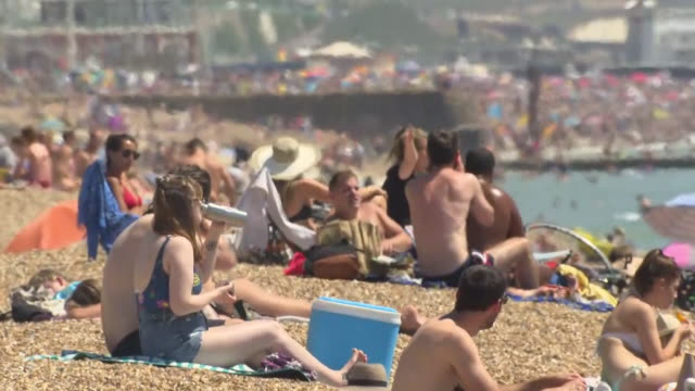 exterior shots of crowded beach, people enjoying the summer heatwave, amid fears of second coronavirus wave in the uk on 25 june 2020 in brighton,... - busy stock videos & royalty-free footage