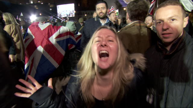 exterior shots of crowds celebrating in brexit at parliament square brexit celebration party on 31st january 2020 in london, england. - celebration stock videos & royalty-free footage